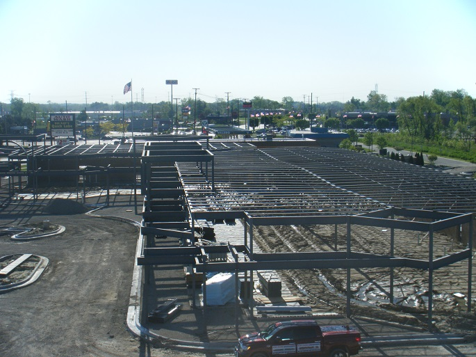 Premier Commercial Builder Warren MI - Metro General Contractors - Grand_River_Plaza_steel_structure